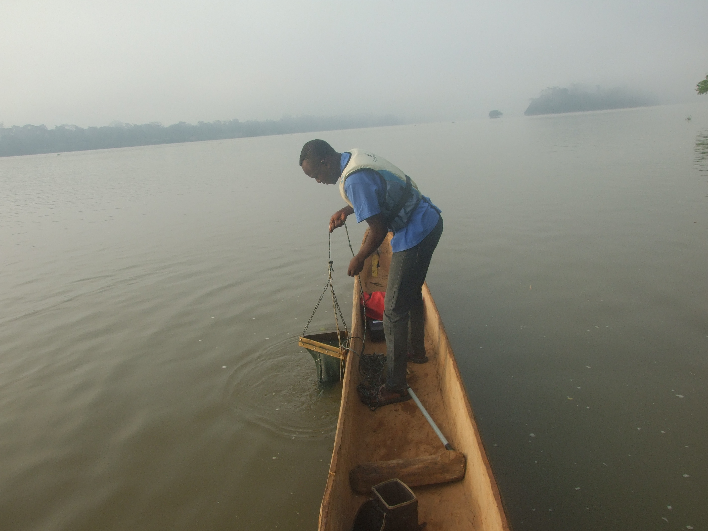 Ndeo in a canoe